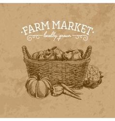 hand drawn farm market vector image vector image