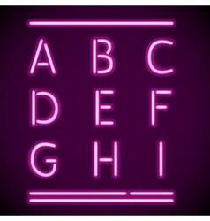 Realistic Neon Alphabet A-I vector image vector image
