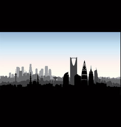 riyadh city skyline cityscape silhouette with vector image