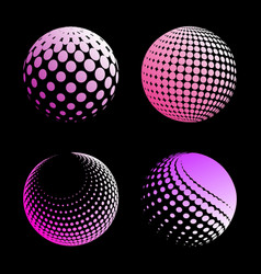 Set abstract halftone 3d spheres 4 vector