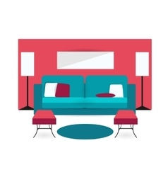 Color furniture living room flat icon vector image