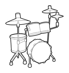 Drum icon outline isometric style vector image vector image