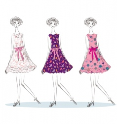 girls in the fashion dresses vector image