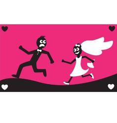 Groom runs away from the bride vector image