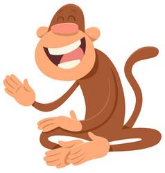 happy monkey animal character vector image vector image