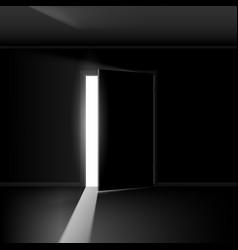 Open door with light on empty background vector