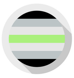 Agender pride flag round shape icon on white vector