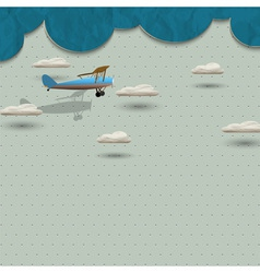 Airplane and clouds from paper vector