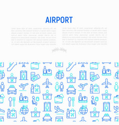 Airport concept with thin line icons vector