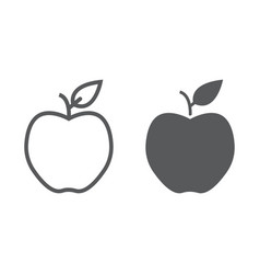 apple line and glyph icon diet and fruit vector image vector image