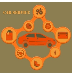 Auto service infographics with auto car repair and vector