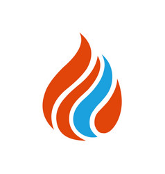 blue red flame logo vector image