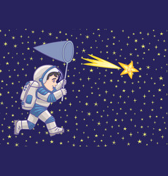 boy astronaut catches a falling star vector image