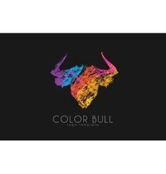 Bull logo design Color bull Crealive animal logo vector