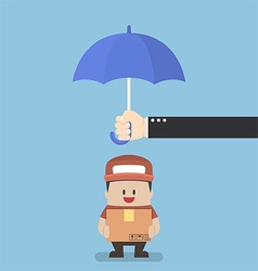 Businessman with parcel box protected by umbrella vector