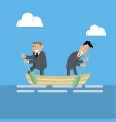 businessmen swim in a boat in different directions vector image