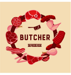 butcher lable with meat food sign for meat shop vector image