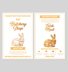 Butchery shop poster with rabbit meat cutting vector