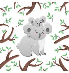 cartoon koalas among the leaves and vector image