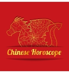 Chinese horoscope background with golden dragon vector