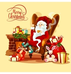 Christmas card with Santa sitting near fireplace vector