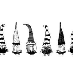 christmas gnomes seamless border hand vector image
