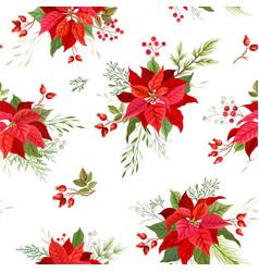 christmas poinsettia winter seamless pattern vector image