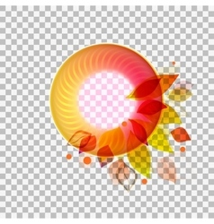 Circle banner with leaves at transparent vector