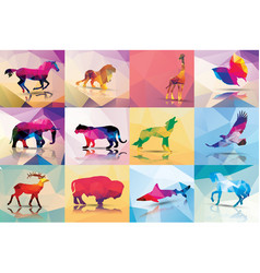 collection geometric polygon animals horse lion vector image