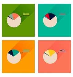 Concept flat icons with long shadow money chart vector