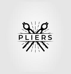 Cross pliers and tongs blacksmith logo design vector