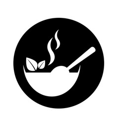 Dish with leafs healthy food vector