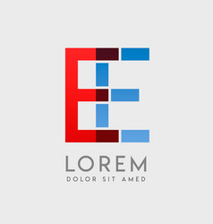 Ee logo letters with blue and red gradation vector