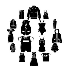 fashion clothes wear icons set simple style vector image