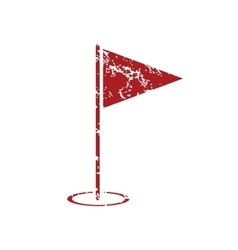 Flagstick red grunge icon vector