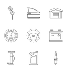 Garage icons set outline style vector