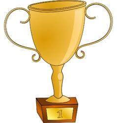 Golden winning cup vector