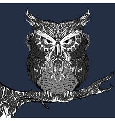 Gray Owl with white ornament vector image