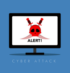 Hacker alert on a computer screen cyber security vector