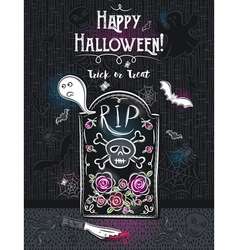 Halloween greeting card with ghost skull knife vector image