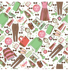hand drawn fashion collection of clothes and vector image