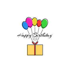 happy birthday party greeting card or poster vector image