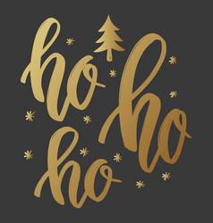 ho ho ho lettering phrase in golden style on vector image