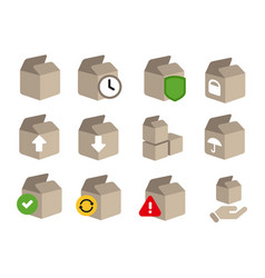 Icon set of box cardboard transaction status step vector
