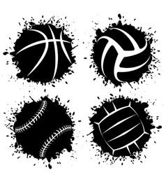 Ink blots grunge sport balls vector