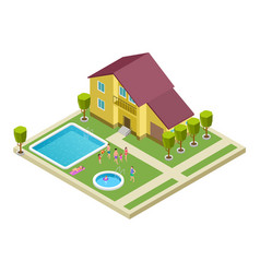 isometric family resting in country hotel vector image