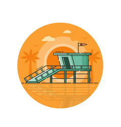Life guard house seaside icon in line art vector