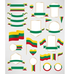Lithuania flag decoration elements vector image