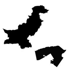 Map pakistan and islamabad country and capital vector