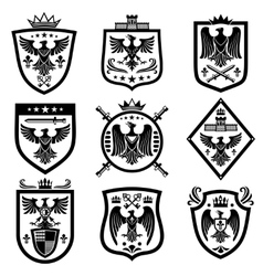 Medieval eagle heraldry coat of arms emblems vector